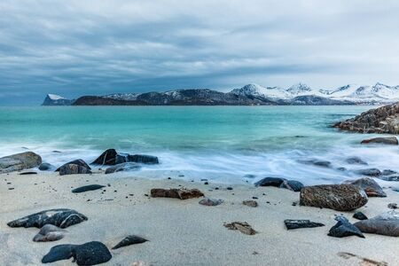beautiful view over fjord in Sommaroy, Norway. Winter. Polar night. long shutter speed