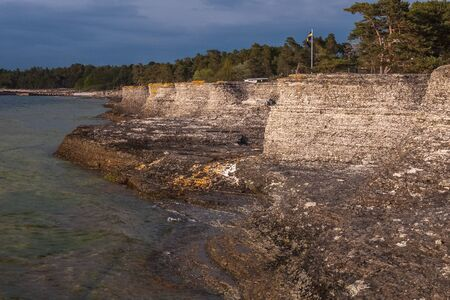 Coastal limestone formations, raukar, at Byrum at the swedish island Oland, the island of sun and wind in the Baltic Sea