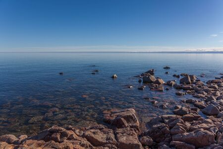 coast of the Baltic Sea, Sweden. stones in the foreground. spring landscape Stock Photo