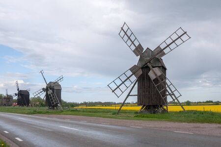 Traditional old windmills on the island Oland in Sweden