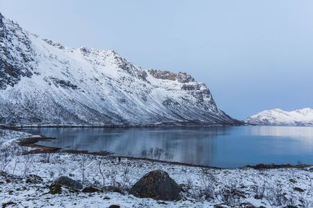 beautiful view over fjord in Tromso, Norway. Winter. Polar night. long shutter speed Stockfoto