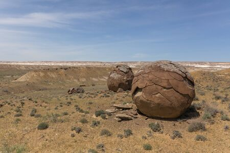 Round rocks in Ustyurt Plateau, Mangystau Region, the southwestern Kazakhstan. It used to be the bottom of the sea called Tethys sea. Feel like a otherworldly landscape. selective focus