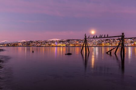 sunrise with amazing magenta color and moon over Tromso, Norway. Winter. Polar night. long shutter speed