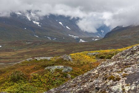 Sarek National Park in northern Sweden in autumn, selective focus