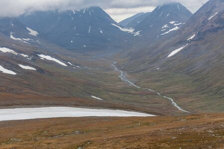 Sarek National Park in Lapland view from the mountain, Sweden, selective focus