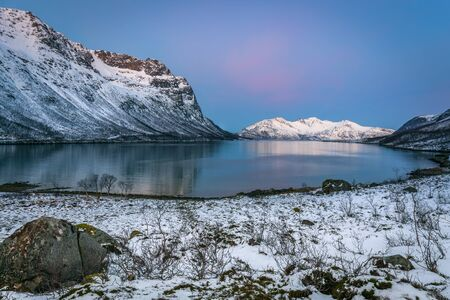 beautiful view over fjord in Tromso, Norway. Winter. Polar night. long shutter speed