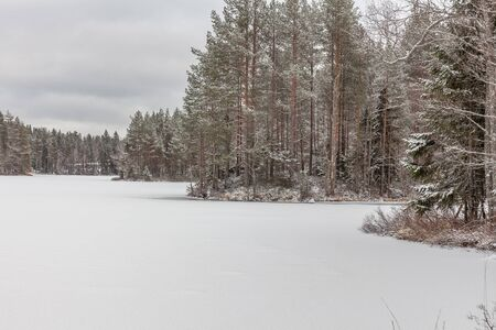 A frozen lake covered by snow on a cloudy winter day. Sweden.