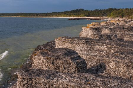 Coastal limestone formations, raukar, at Byrum at the swedish island Oland, the island of sun and wind in the Baltic Sea. selective focus