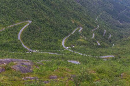 Winding Road in Norway, Serpentine road in the mountains of Norway, selective focus