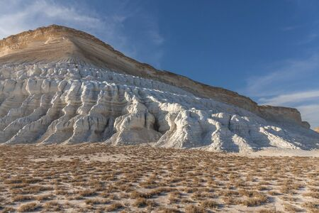 The Ustyurt Plateau. District of Boszhir. The bottom of a dry ocean Tethys. Kazakhstan. selective focus
