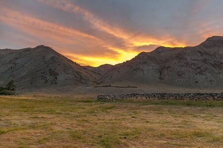 Sunset at the Mongolian steppe, Colorful sunset over Mongolian steppe.