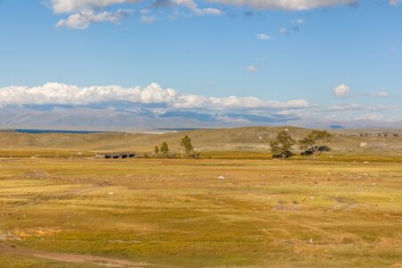 Mongolian landscapes in the Altai Mountains, wide landscape.