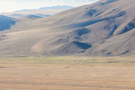 Dry Mongolian landscapes in the Altai Mountains, wide landscape