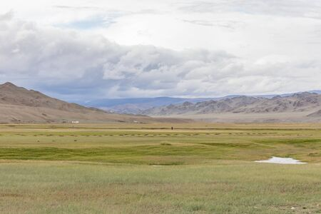 Mongolian landscapes in the Altai Mountains, wide landscape. Stock Photo