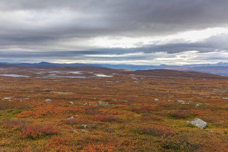 Sarek National Park in northern Sweden in autumn, selective focus