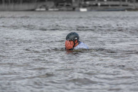 Fagersta, Sweden - Maj 01, 2020: Teenager wakeboarding fells into the water after an unsuccessful jump