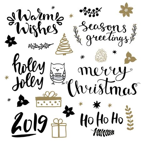 Set of christmas design elements and hand written lettering about christmas and winter holidays. Ho ho ho, holly jolly, seasons greetings, merry christmas, 2019 , warm wishes hand written lettering phrases