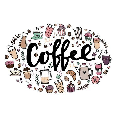 Affiche dessinée à la main sur le café. Illustration de conception de lettrage écrit à la main