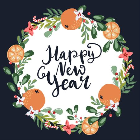 Happy New Year greeting card with hand written calligraphy words and hand drawn floral branches and design elements in traditional colors on dark background Foto de archivo - 130569199