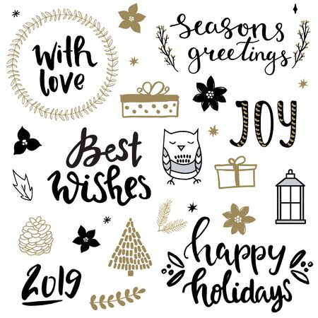 Set of christmas design elements and hand written lettering about christmas and winter holidays. Joy, best wishes, seasons greetings, with love hand written phrases Illusztráció