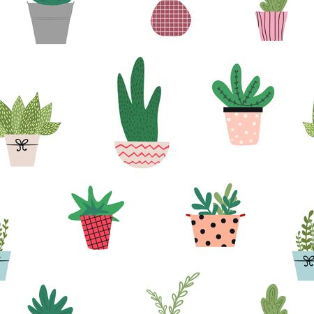 Seamless pattern with cute hand drawn vector gardening tools and equipment, flowerpots