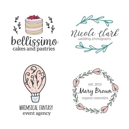 Set of hand drawn cute, stylish and simple premade logo designs for business and stationery. Collection of vector icons and illustrations for cafe,bakery.event agency, photography and more