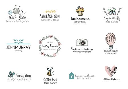 Set of hand drawn cute, stylish and simple premade logo designs for business and stationery. Collection of vector icons and illustrations Ilustração
