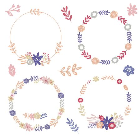 Set of simple floral wreaths and bouquets for wedding decor,invitation,greeting card design Ilustracje wektorowe