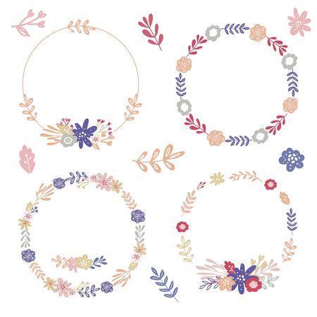 Set of simple floral wreaths and bouquets for wedding decor,invitation,greeting card design Vektorgrafik
