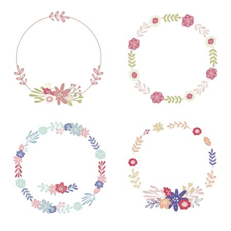 Set of simple floral wreaths and bouquets for wedding decor,invitation,greeting card design