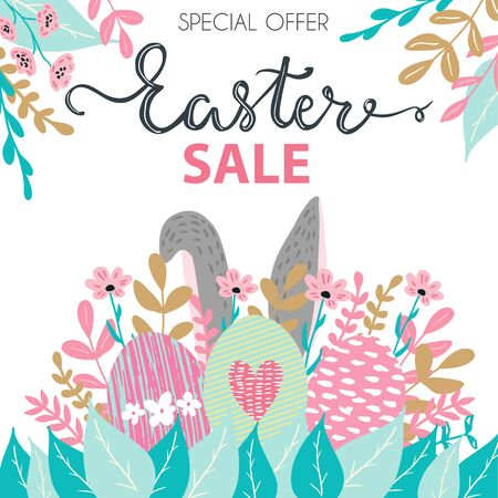 Easter sale banner, card, flyer design with cute bunny rabbit ears, eggs and flowers
