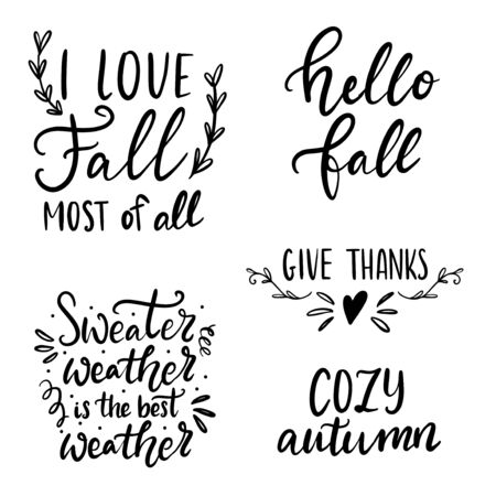 Set of hand drawn lettering fall, autumn and Thanksgiving quotes and pharses for cards, banners, posters design. Hello Fall, cozy autumn, give thanks, sweater weather
