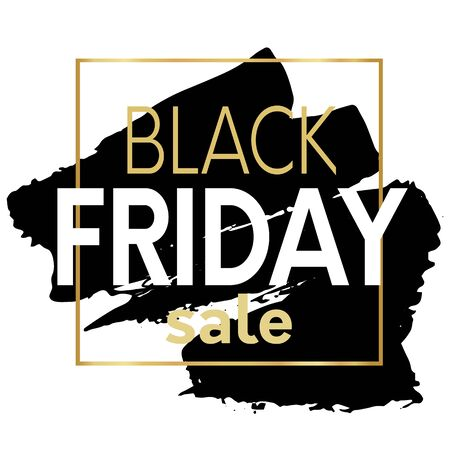 Black friday sale promotional poster template with black brush stroke on back ground and square gold frame