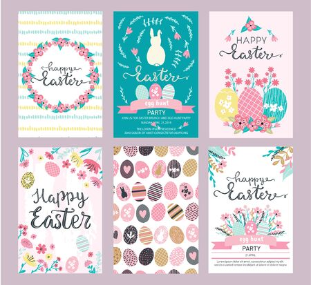 Set of Easter greeting cards and invitation for Easter egg hunt party designs in cute hand drawn style with florals, flowers, hand painted textures and bunny rabbits