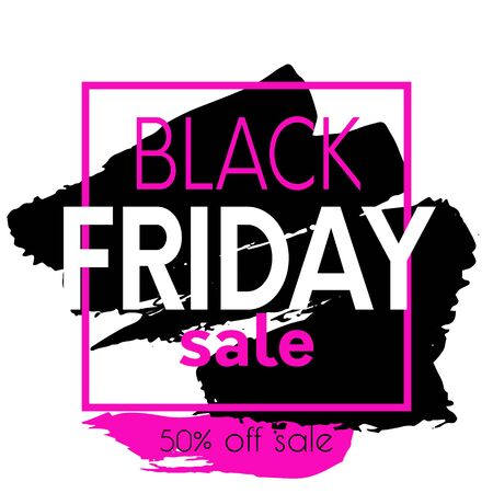 Black friday sale banner with square frame. Promotional hand drawn poster with black friday sale text and brush stroke background