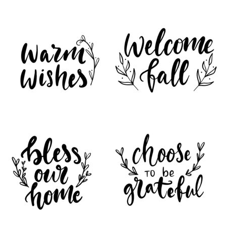 Set of hand drawn lettering fall, autumn and Thanksgiving quotes and pharses for cards, banners, posters design.