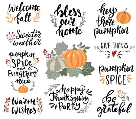 Set of hand drawn lettering fall, autumn and Thanksgiving quotes and pharses for cards, banners, posters design. Warm wishes, bless our home, give thanks, be grateful 向量圖像