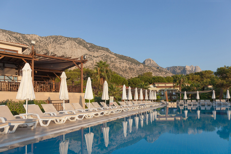 recreation area: The recreation area around the pool in a tourist hotel without tourists in Turkey