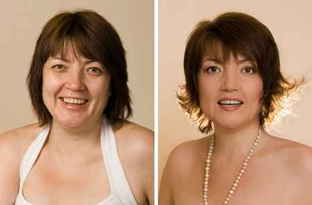 after: The image of women before and after work, stylist, makeup artist and photographer. Stock Photo