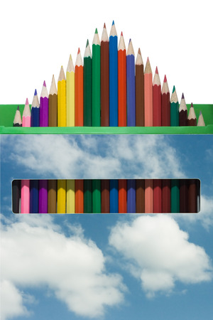 out of a box: A set of colored pencils, pulled out a box in the form of a triangle on a white background Stock Photo