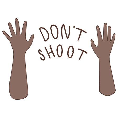 Don't shoot text on white isolated backdrop. Raised afro hand blm poster for invitation or gift card, social banner, news blog, flyer. Phone case or cloth print. Doodle style stock vector illustration Ilustración de vector