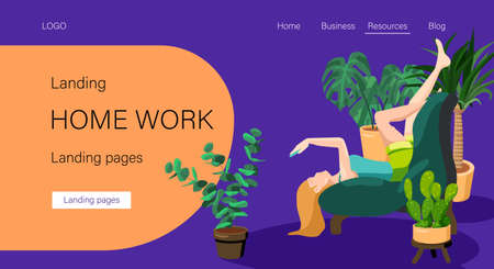 Homework text on orange backdrop. Landing page with copy space for social banner, remote job vacancy, website info card, labor exchange. Web template or info page. Flat style stock vector illustration