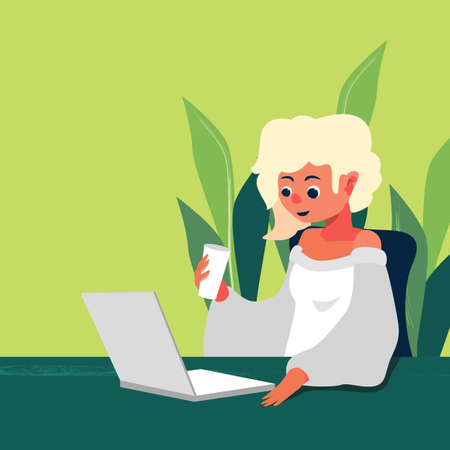 Girl with laptop on green backdrop. Online study for website or social banner, remote job vacancy, flyer, info card, labor exchange. Web template or info page. Flat style stock vector illustration