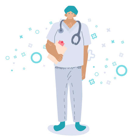 Medic male on white backdrop. Doctor with stethoscope for social banner or flyer, web element, health care promo, medical poster.