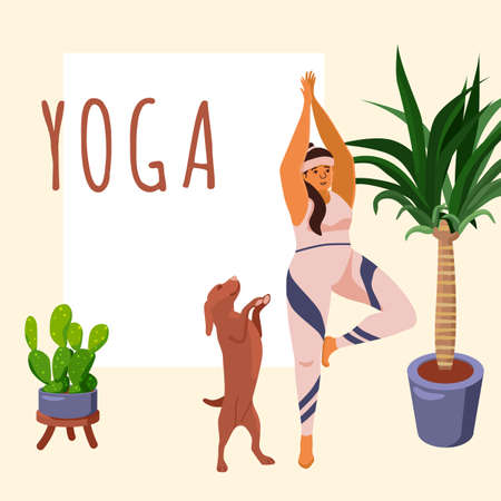 Yoga workout on yellow backdrop. Body positive girl for healthy lifestyle blog, landing page, card print, body positive website. Fitness courses or club banner. Flat style stock vector illustration