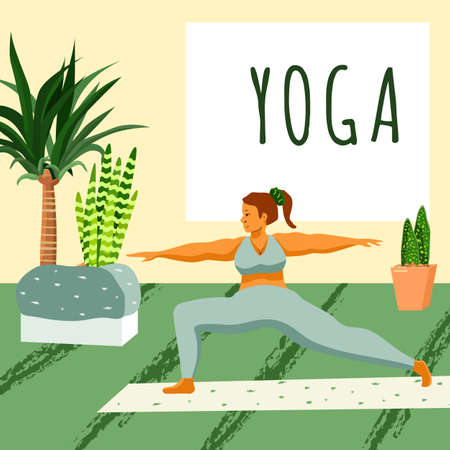 Yoga exercise on green backdrop. Body positive woman for web template, landing page, card or cloth print, healthy lifestyle blog. Fitness courses or club  . Flat style stock vector illustration
