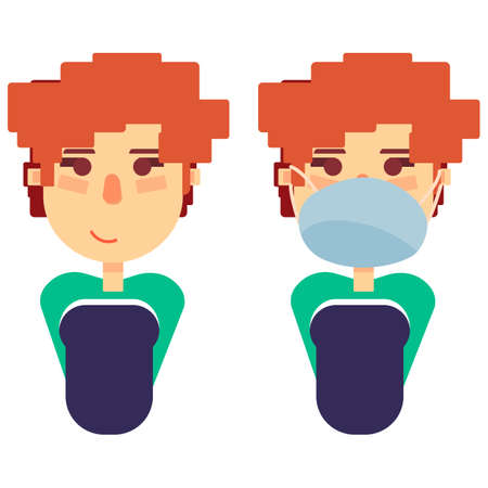 Redhead woman on white isolated backdrop. European girl in mask for social banner, hygiene propaganda, medical poster.