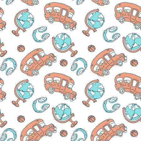 School bus and globe on white backdrop. Study seamless pattern for wallpaper, wrap paper, sleeper, bath tile, apparel or bed linen Phone case or cloth print. Doodle style stock vector illustration Vetores
