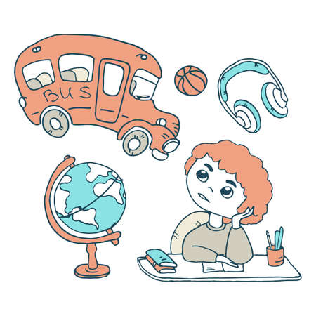 Doing homework with earth globe on white isolated backdrop. School bus for invitation or gift card, notebook, bath tile, scrapbook. Phone case or cloth print. Doodle style stock vector illustration