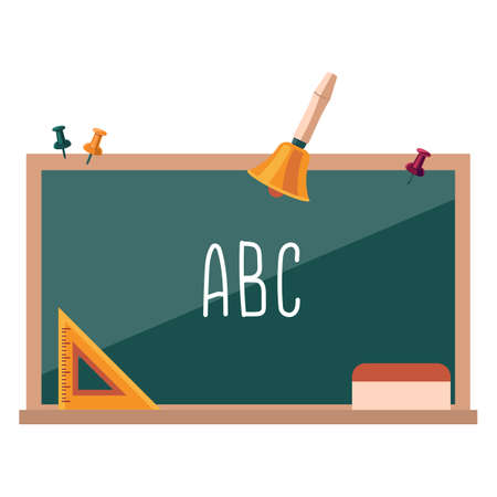 Wooden school chalkboard on white isolated backdrop. Vintage hand bell for invitation or gift card, notebook, bath tile, scrapbook. Phone case or cloth print. Flat style stock vector illustration 일러스트